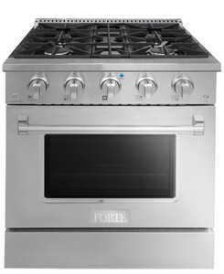 """FGR304BSS 30"""" Freestanding Gas Range with 4 Sealed Burners, 3.53 cu. ft. Oven Capacity, Precise Temperature System, Edge to Edge Grates, Easy Glide Oven Racks, 10K BTU Broiler, LP Convertible, in Stainless Steel"""