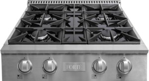 """FGRT304 30"""" Gas Rangetop with 4 Sealed Italian Burners, Edge to Edge Grates, Gas Convertible, Heavy Duty Stainless Steel Knobs, in Stainless Steel"""