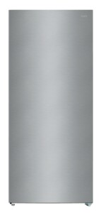"""F21UFESSS 33"""" Upright Freezer with 21 cu. ft. Capacity, Energy Star, Quick Freeze, Temperature and Door Alarm, LED Lighting, Spillproof Glass Shelves, Electronic Control, Adjustable Legs, Total No Frost, Recessed Handle, in Stainless Steel"""