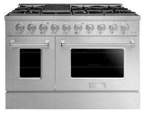 """FGR488BSS 48"""" Freestanding Gas Range with 8 Sealed Burners, 5.53 cu. ft. Dual Oven Total Capacity, Precise Temperature System, Edge to Edge Grates, Easy Glide Oven Racks, 10K BTU Broiler, LP Convertible, in Stainless Steel"""